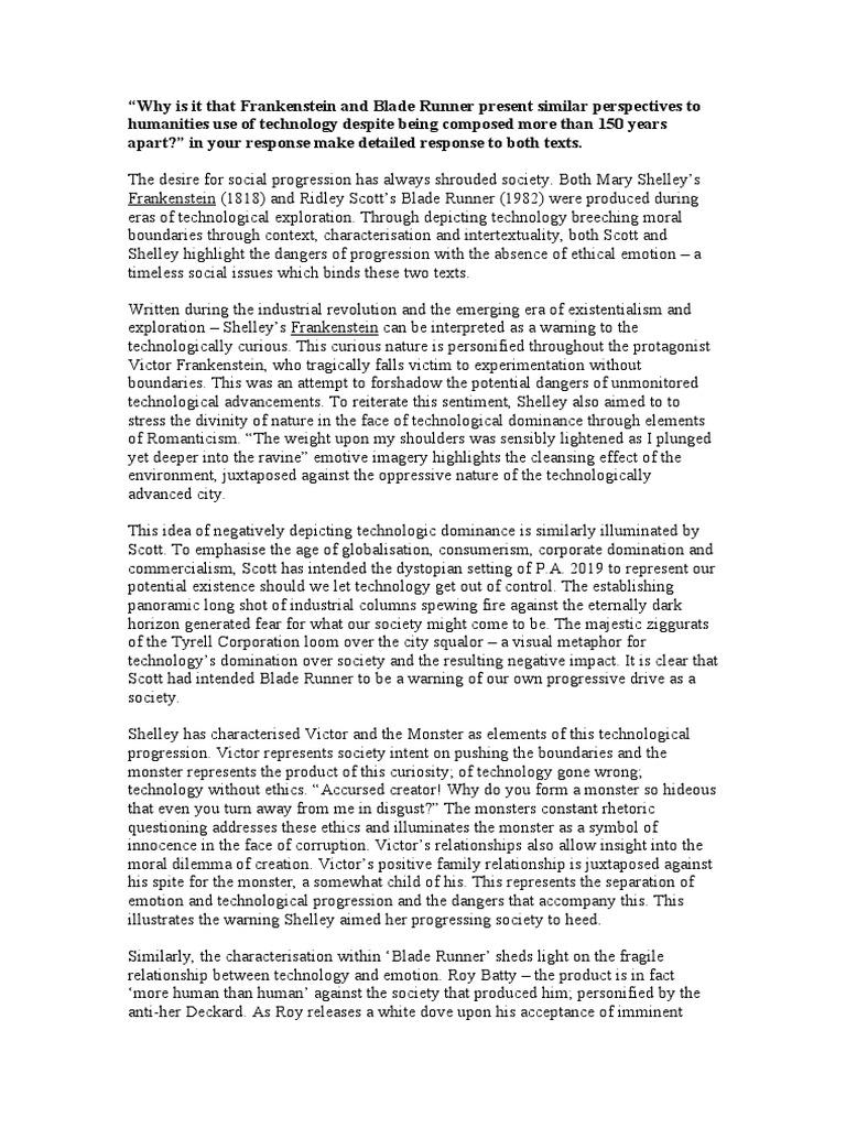 frankenstein and bladerunner essay thesis