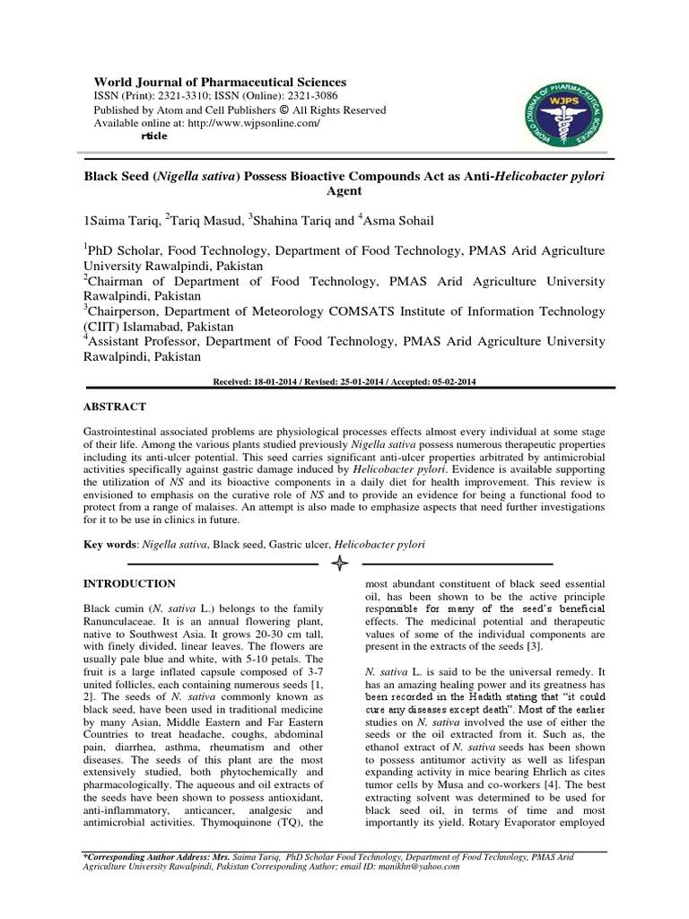 Black Seed (Nigella sativa) Possess Bioactive Compounds Act