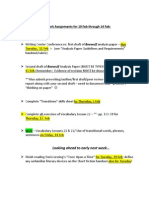 homework assignments for 10 feb through 14 feb