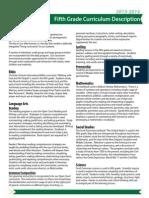 2013-2014 5th Grade Curriculum Description
