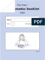 2004 Maths Key Stage 1 Paper a Level 2