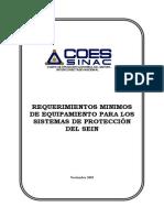 Requerimientos Mínimo de Equipamiento para los Sistemas de Protección SEIN - COES SINAC