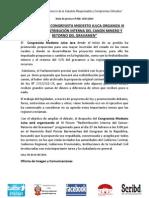 """DESPACHO DEL CONGRESISTA MODESTO JULCA ORGANIZA III FORUM """"REDISTRIBUCIÓN DEL CANON MINERO Y RETORNO DEL GRAVAMEN"""""""