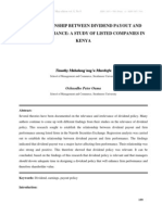 The Relationship Between Dividend Payout and Firm Performance a Study of Listed Companies in Kenya