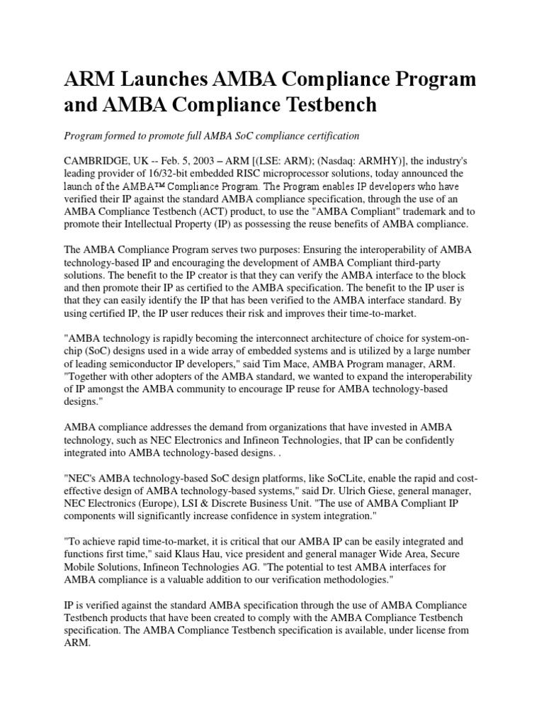Arm Launches Amba Compliance Program And Amba Compliance Testbench