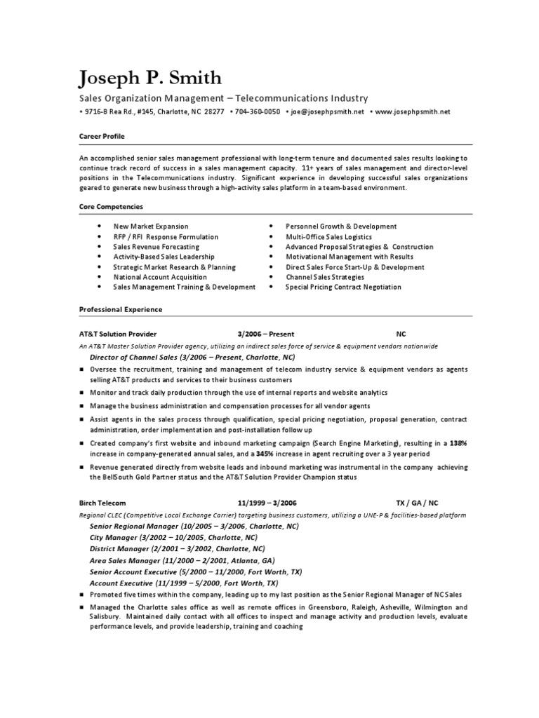 Executive Resume For Joseph P Smith Telecom Sales Management