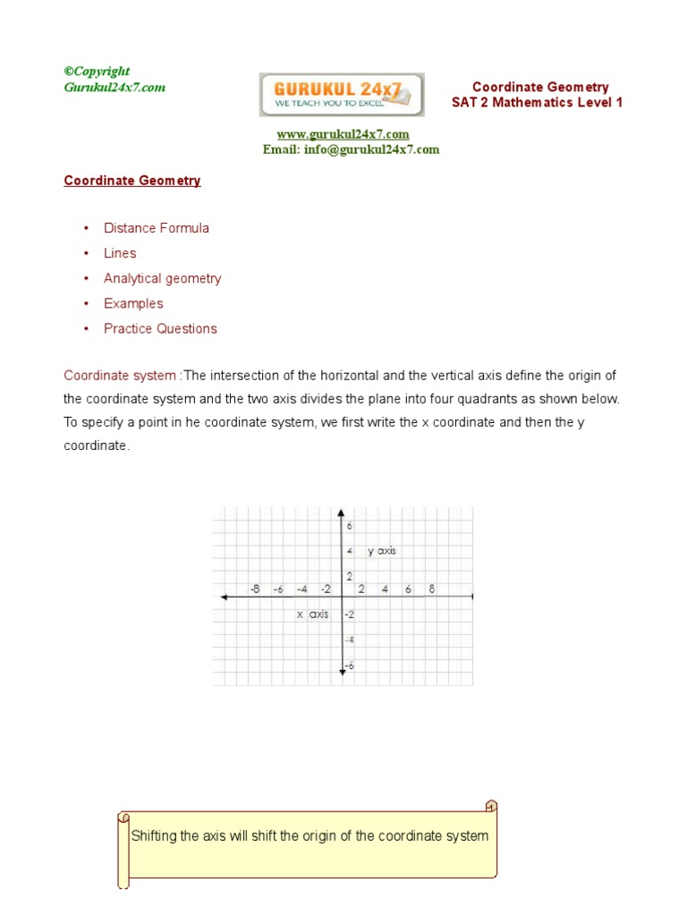 worksheet Coordinate Geometry Distance Formula Worksheet coordinate geometry sat 2 mathematics level 1 tutorial and worksheet analytic cartesian system