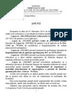 ANUNŢ privind noua legislaţie penală şi prezentarea elementelor de noutate (1)