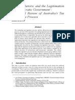 Chaos, Rhetoric and the Legitimation of 'Democratic Government' - A Critical Review of Australia's Tax Legislative Process