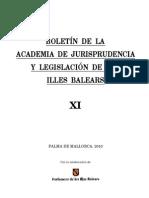 Boletin Academia de Legislación y Jurisprudencia de las Islas Baleares, Tomo XI