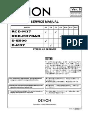Denon RCD-M37 Service Manual | Digital To Analog Converter