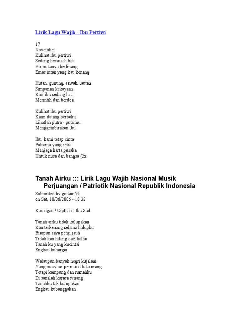 Lirik Lagu Wajib