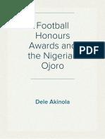 Football Honours Awards and the Nigerian Ojoro