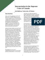 Statutory Interpretation in the Supreme Court of Canada
