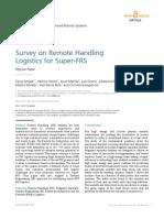 Survey on Remote Handling Logistics for Super-FRS