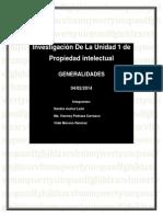 Investigación De La Unidad 1 de Propiedad intelectual