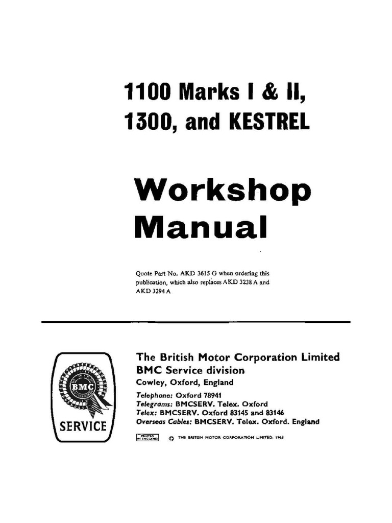 Bmc 1100 1300 Workshop Manual Vehicles Propulsion Thermostat Wiring Diagram Taco Val