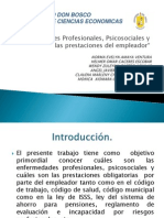 Enfermedades Profesionales, Psicosociales y Las Prestaciones Del Empleador