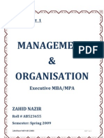 Semester 2 Assgn 1 Management & Organization