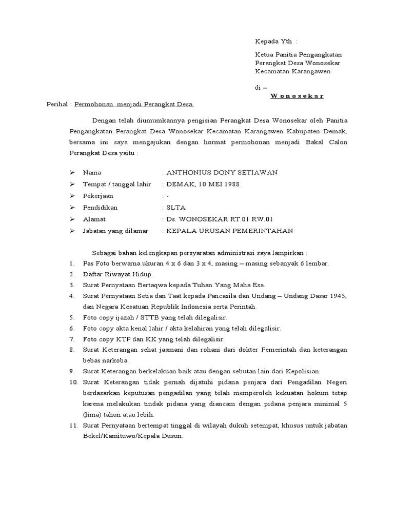 Contoh Surat Permohonan Menjadi Perangkat Desa Doc Bagi Contoh Surat