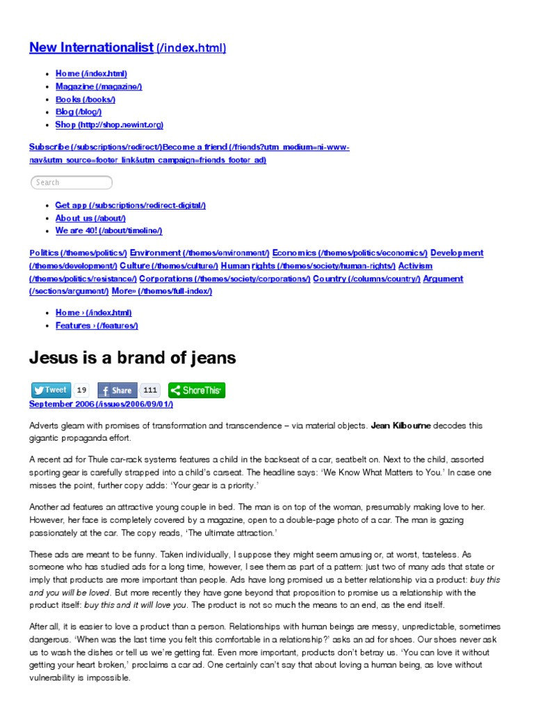 jesus is a brand of jeans by jean kilbourne