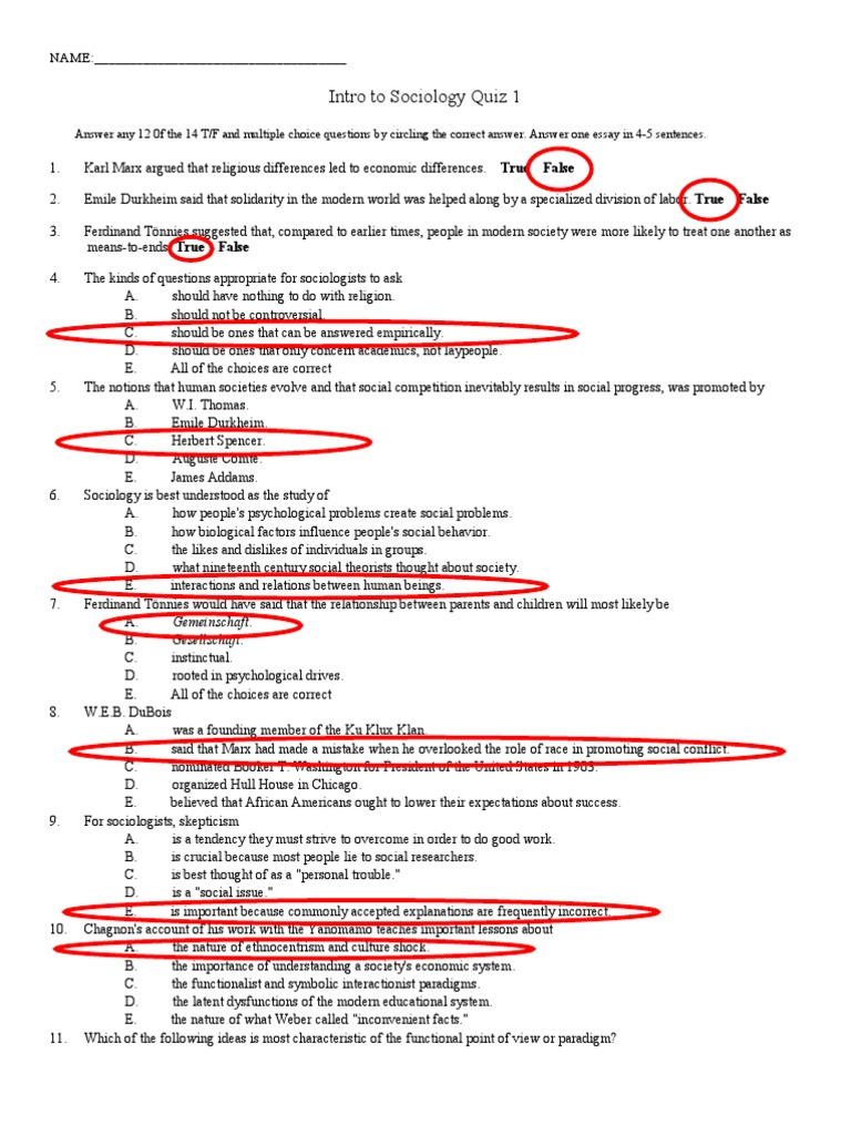Intro to sociology quiz 1v1key mile durkheim sociology biocorpaavc Image collections