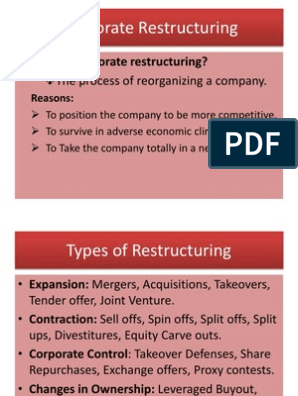 Corporate Restructuring | Takeover | Mergers And Acquisitions