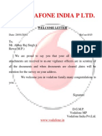Vodafone India p Ltd Welcome Letter