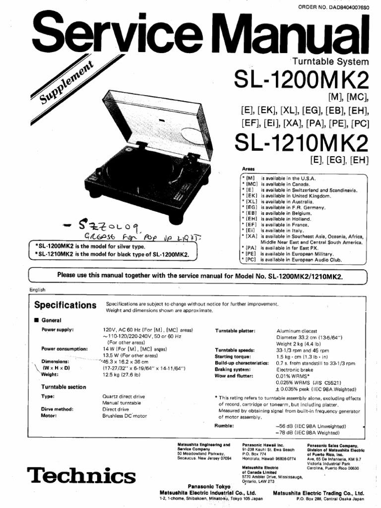 Technics SL1200 SL1210 Mk2 Service Manual Supplement