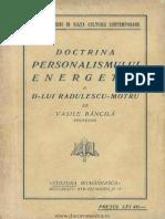V.bancila,Doctrina Personalismului Energetic a D-Lui Radulescu-Motru