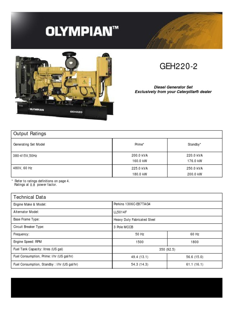 caterpillar olympian geh 220 2 technical sheet diesel engine rh scribd com