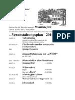 Veranstaltungsplan der Waldgaststätte Sennhütte