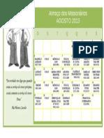 calendário dos missionários-agosto