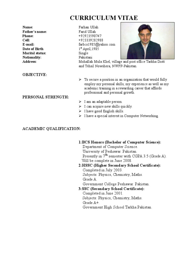 Resume Format Sample | Farhan Cv From Pakistan