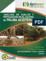 Analsis de Suelos y Fertilidad Del Cultivo de La Palma Aceitera