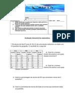 9º A avaliação de matemática sobre porcentagem, média aritmetica, média ponderada e propriedades da potência docx