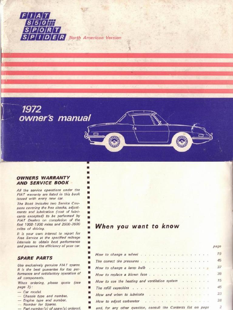 fiat 850 pdf rh scribd com 1968 Fiat Spider 850 Convertible 1973 Fiat 850 Spider