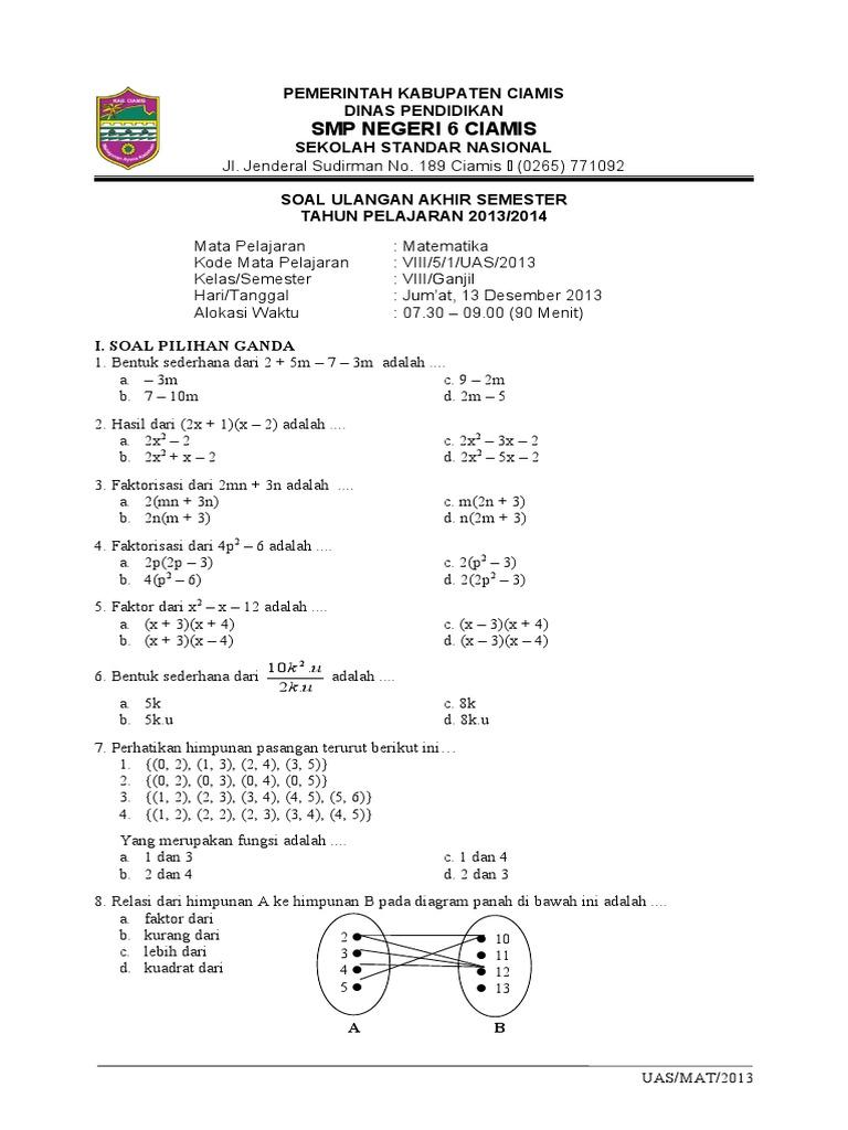 Soal uas matematika 2013 ccuart Gallery