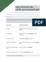Present Participle vs. Gerunds