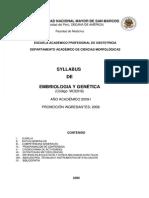 Syllabus de Embriologia Genetica 2008