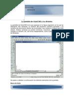La pantalla de AutoCAD y su división