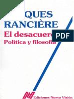 Jacques Rancière El desacuerdo política y filosofía  1996