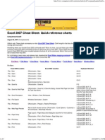 Excel 2007 Cheat Sheet Quick