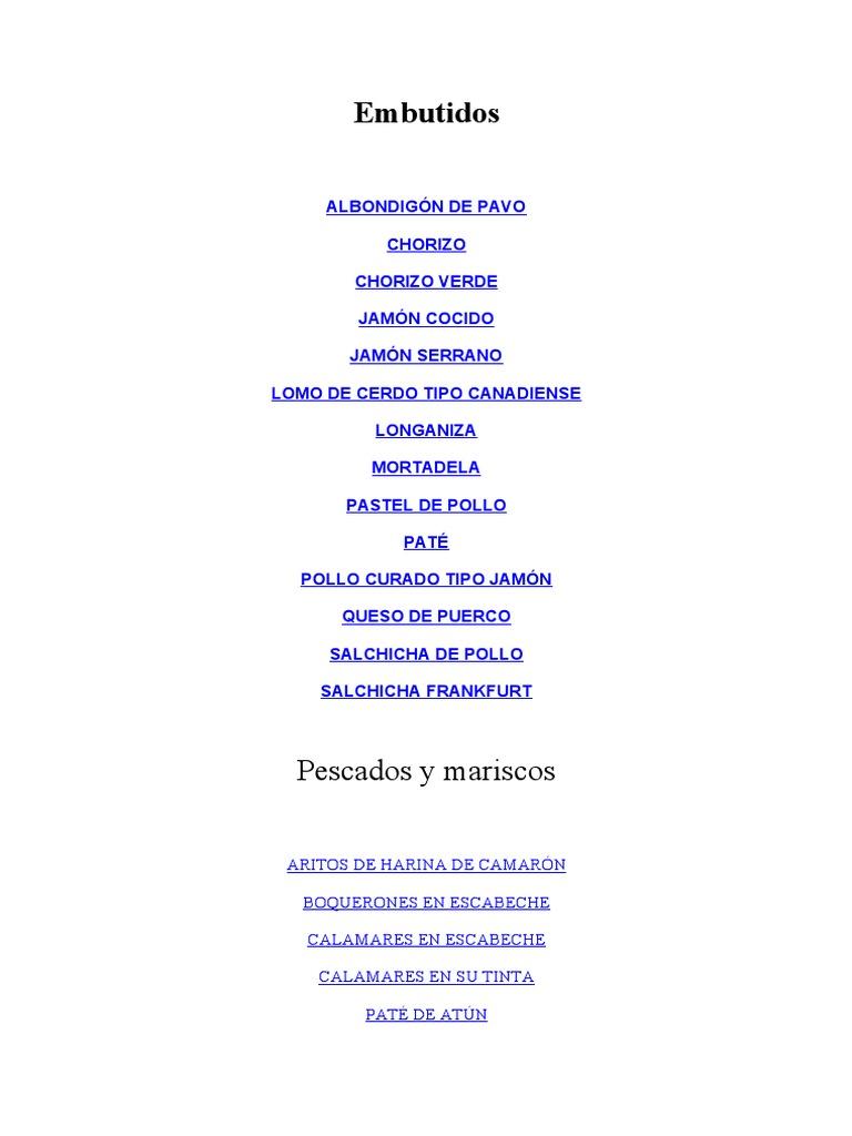 Recetas (Embutidos) Formulas Quimicas