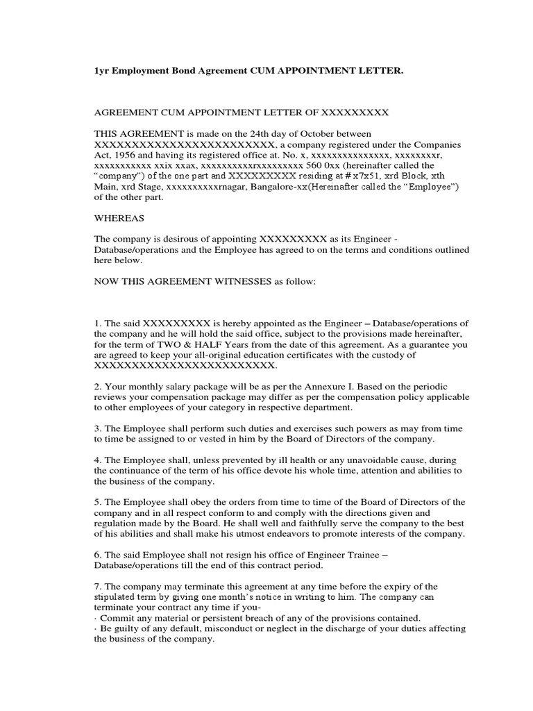 1yr Employment Bond Agreement Cum Appointment Letter  Board Of Directors   Employment