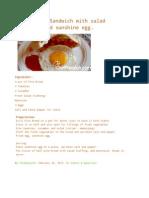 Pita Bread Sandwich With Salad Stuffing and Sunshine Egg.