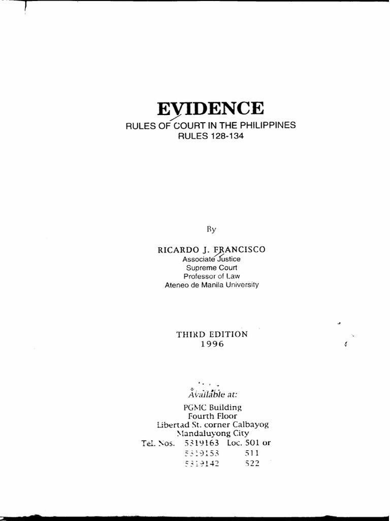 Evidence By Francisco Rule 128 Evidence Law Testimony
