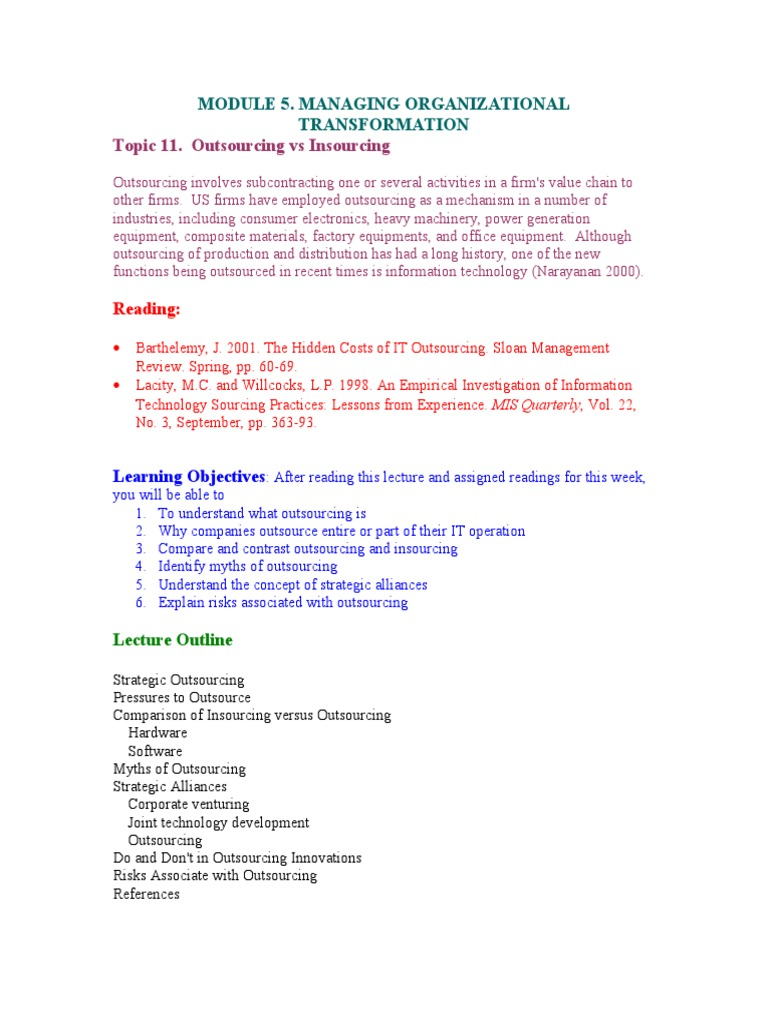 Outsourcing Notes | Outsourcing | Consultant