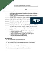 Quiz on Voluntary Health and Welfare Organizations