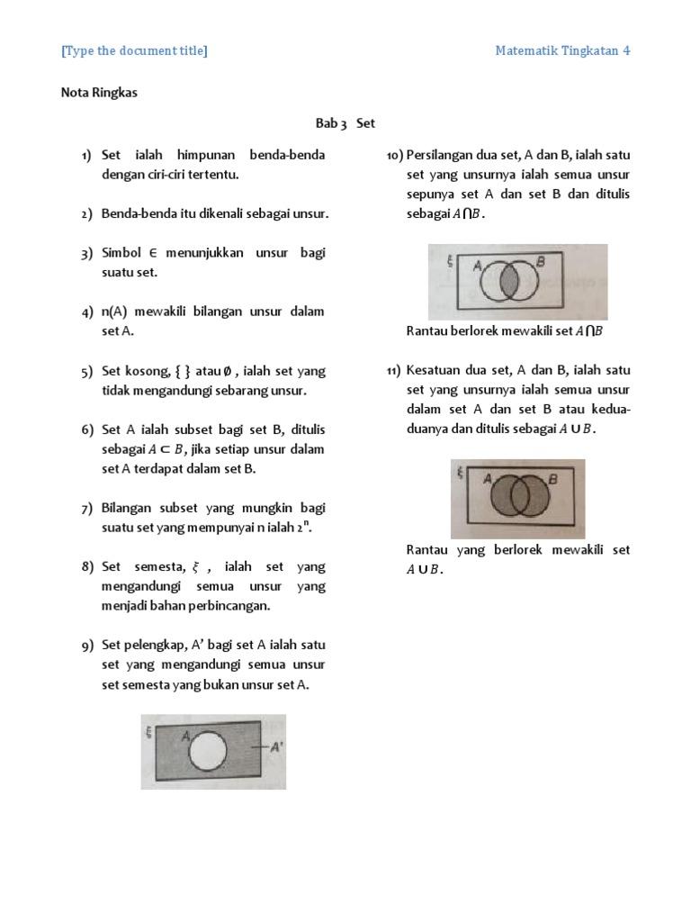 Bab 3 Set Nota Ringkas Matematik Tingkatan 4